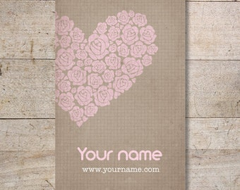 Business Cards - Custom Business Cards - Jewelry Cards - Earring Cards - Display Cards - Rose Heart - No. 20