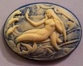 SALE! Mermaid Cameo 40x30, set of 4. Ivory on Ocean Blue
