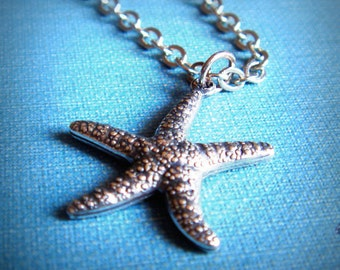 SALE - Antique Silver Starfish Pendant, Mermaid Necklace, Silver Plated Chain, Antique Silver Charms, Handmade Jewelry Gifts by HoneyNest