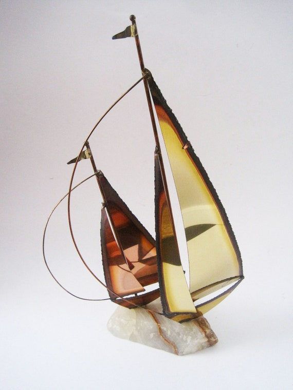 Mid Century Jere Era Sail Boats Sculpture Signed by Artist