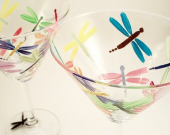 Multi-color dragonflies - hand painted martini glasses - painted dragonfly glasses - set of 2 - Gift for Mom
