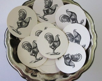 Chicken Rooster Tags Round Gift Tags Set of 10