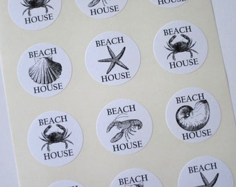 Beach House Stickers One Inch Round Seals Crab, Lobster, Starfish, Clam, Shell