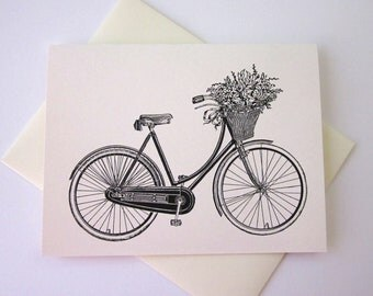 Bike with Basket of Flowers Note Card Set of 10 in White or Light Ivory with Matching Envelopes