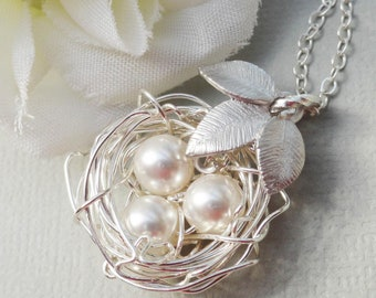 Silver Birds Nest With Three Leaves , Rustic Nest, Ideal Gift for Bride, Bridesmaids or Mother