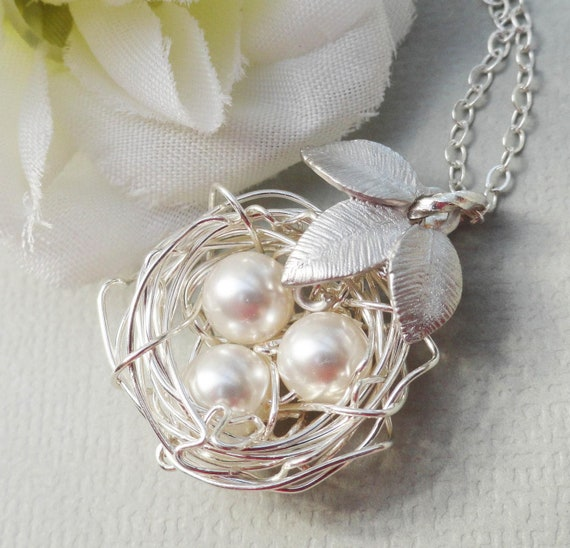 Sterling Silver Birds Nest With Three Leaves - ALL STERLING SILVER Rustic Nest - Ideal Gift for Bride, Bridesmaids or Mother