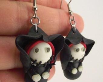 Cloaked Skeleton Earrings, Clay Earrings