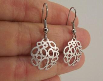 Small Silver Bubble Earrings, Organic Circle Silver Earrings