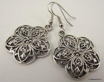 Detailed Silver Flower Earrings, Silver Earrings