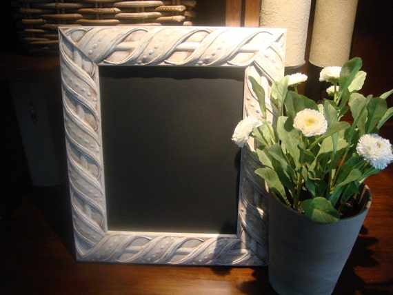"""Chalkboard, Shabby Chic """"Chalk"""" Type Paint Finish, Baroque-Style, French Look (11 1/2 x 13 1/2 inches)"""