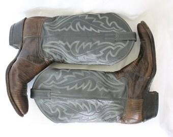 Justin Gray Brown Lizard Cowboy Boots - Western - Men 8.5 - Women 10