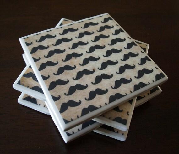Moustache Tile Coasters - Millions of Moustaches