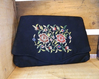 """Vintage Purse, SALE,""""Majestic"""" Faille Petit Point Floral Clutch, So Romantic and Beautiful:"""" Roses are Red"""""""