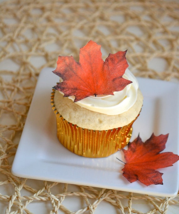 Fall Cupcake Decorations Part - 47: Edible Maple Leaves - Dark Burnt Orange/Red 1 Dozen - Cake U0026 Cupcake Toppers  - Food Decoration