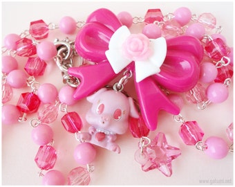 Jewel Pet Riru Necklace, Beaded Pink and Fuschia Chain with Bow Charm and Character Pendant