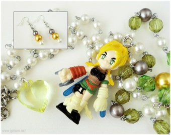 FFX Very Long Rikku Beaded Rosary Necklace with Matching Earrings - Gamer, Final Fantasy