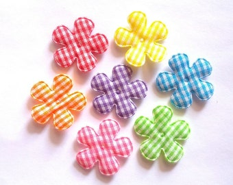 100 pcs - Gingham Flowers Appliques - mix color - size 25 mm