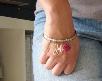 Upcycled Charm Bracelets Flower Bow Bangles Upcycled Vintage Bracelets Bead Botanical Jewelry Garden Inspired