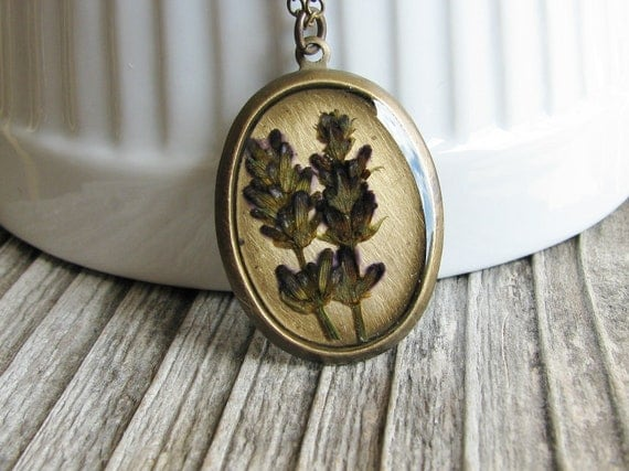 Pressed Lavender Necklace Botanical Jewelry Real Dried Herb Nature Inspired Resin Pendant Garden Lover Gift