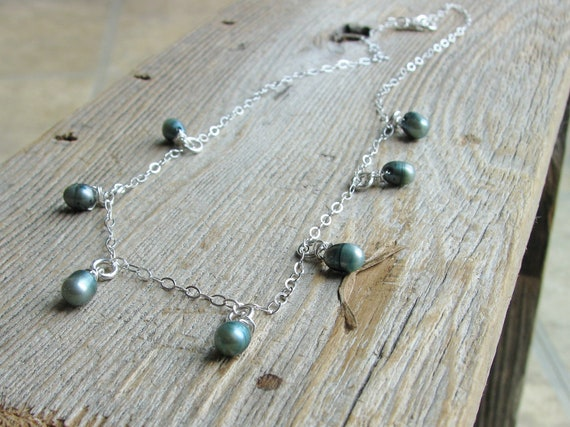 Pearl Necklace Teal Freshwater Pearls Sterling Silver Jewelry Bridal Necklace Minimalist Fresh