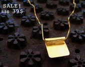 S A L E - Square Gold Necklace, Gold Necklace With a Square Pendant