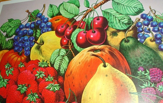 Set of 2 Currier & Ives Art Prints 1983 Fruit Cherries Grapes Vibrant Colors