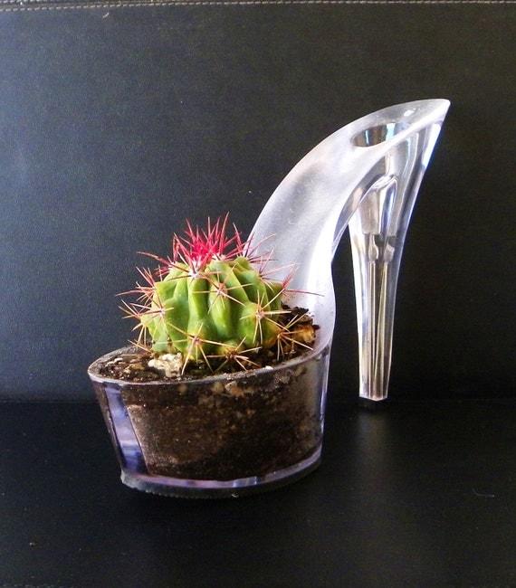 Redhead. stiletto cactus planter. reclaimed high heel. feminist art.