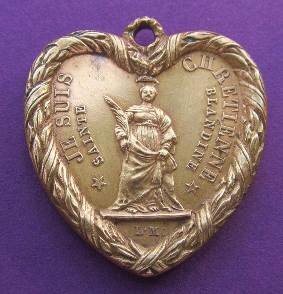 Saint Blandine Virgin Mary Heart Shaped Antique French Religious Medal The Visitation Catholic Pendant SS160