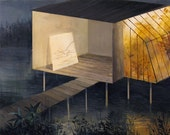Lake Studio with Attached Greenhouse-Original Painting-