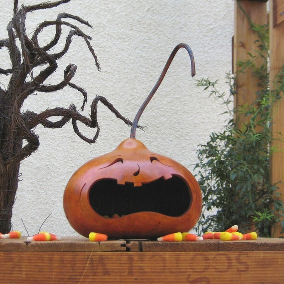 Halloween Jack O Lantern Gourd Spooky Fall Decoration Carved Candy Bowl