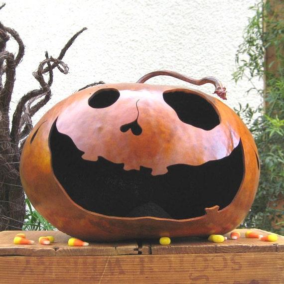Halloween Gourd Jack O Lantern Natural Fall Harvest Candy Bowl Pumpkin Decoration