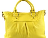 Leather tote Alberta bright yellow - Leather Tote Bag - Satchel leather bag - Yellow Cowhide Satchel - Shoulder bag Tote Handbag