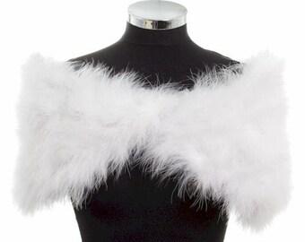 HOLLYWOOD NOSTALGIC GLAMOUR - Soft White Marabou Feather Stole Wrap Shrug Cape- Plus sizes available in Shrugs