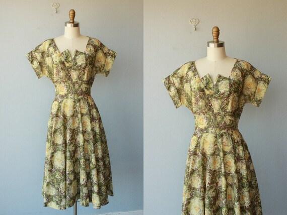 50s dress / 1950s dress / party dress / impressionist print dress / full skirt - size medium , large
