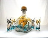 Glass Decanter Hand Painted Bottle Art on Glass, Barware Hand Painted Shot Glasses - 5 piece set