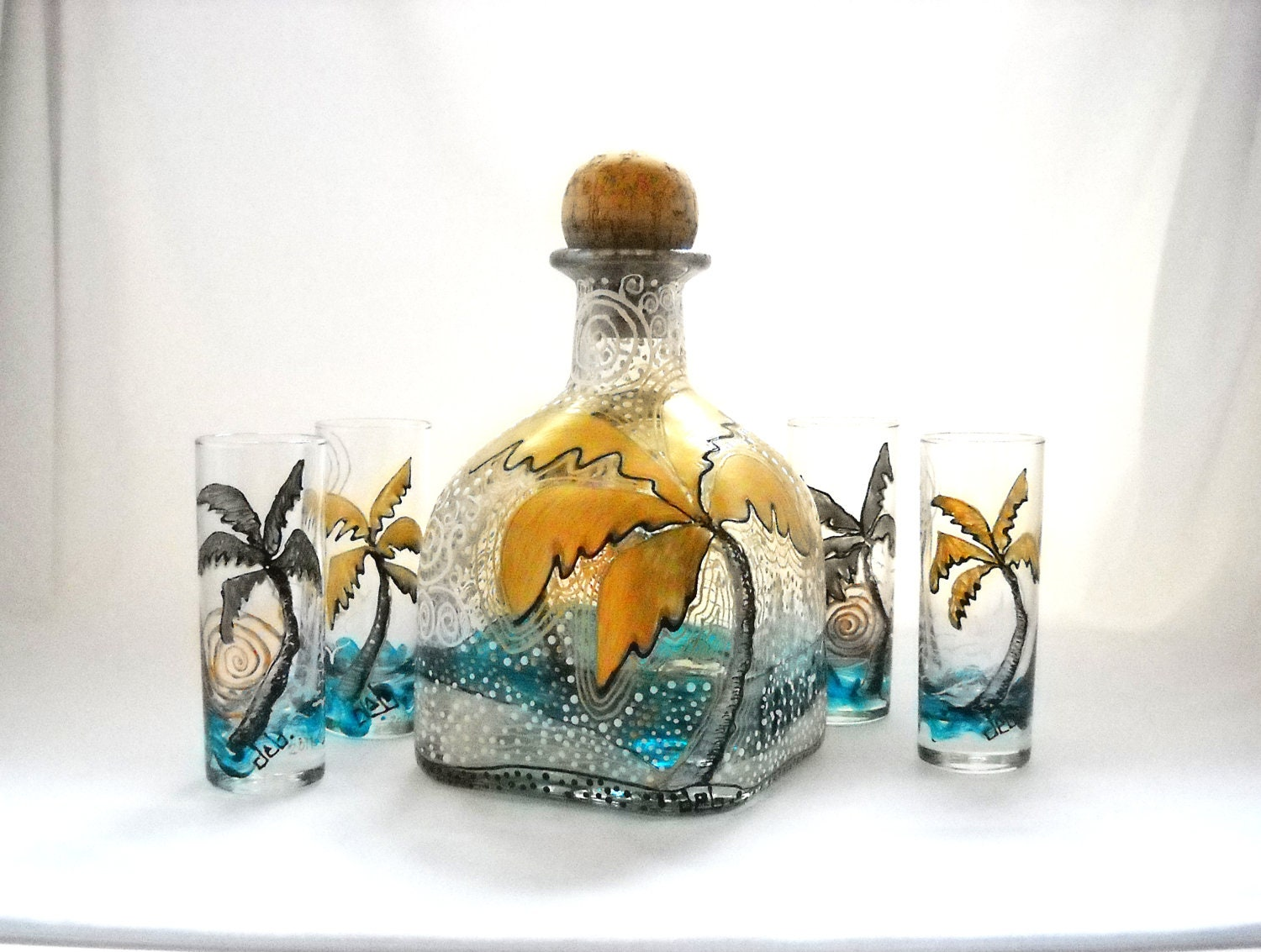 Glass decanter hand painted bottle art on by skyspiritstudios for Hand painted glass bottles