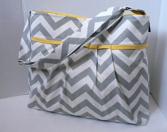 The Monterey Diaper Bag Large - In Grey Chevron and Yellow - Adjustable Strap and Elastic Pockets