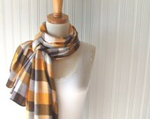 Plaid Flannel Scarf in Mustard Yellow and Clove Brown - Fall Autumn Winter Fashion