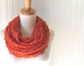 Pumpkin Spice Lace Infinity Scarf - Ruffled Loop, Circle Scarf - Extra Long - Fall Fashion - Burnt Orange Lace