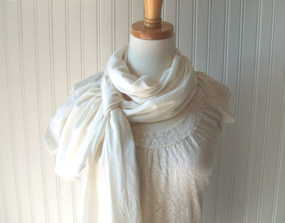Cotton Gauze Scarf in Antique Pearl - Spring and Summer Fashion - Off White Beige