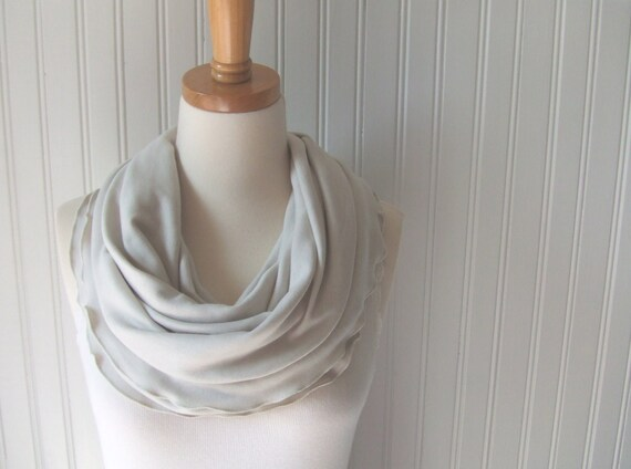 Linen Beige Infinity Scarf - Cotton Jersey Ruffled Circle Loop Scarf Fall and Winter Fashion