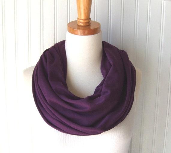 Blackberry Jersey Infinity Scarf - Dark Purple Eggplant Circle Loop Scarf Fall and Winter Fashion