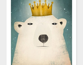 Polar Bear King GRAPHIC ART Illustration giclee print SIGNED