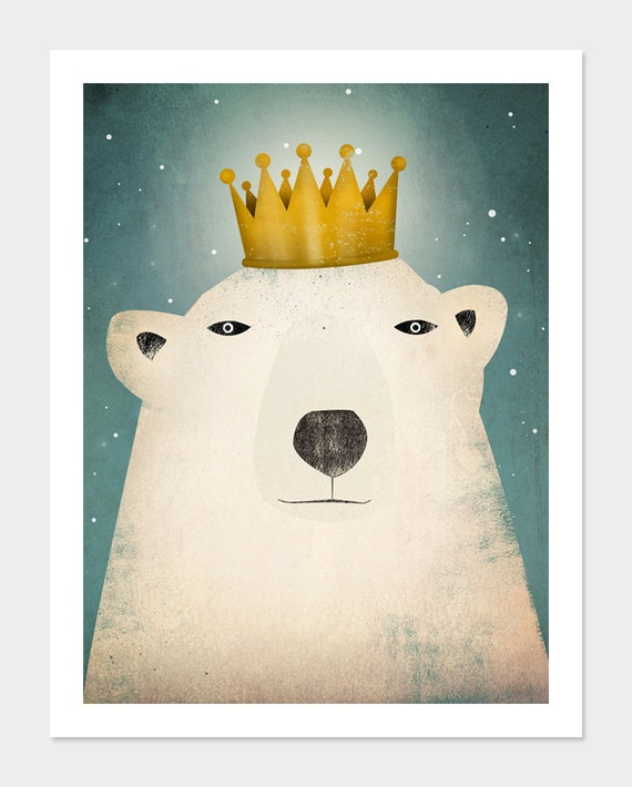 Bear King GRAPHIC ART Illustration giclee print SIGNED