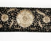 Zardozi Vintage Silk Evening Clutch Embroidery Silver Gold Black Antique Bag Purse Vintage Handmade Textile Heirloom