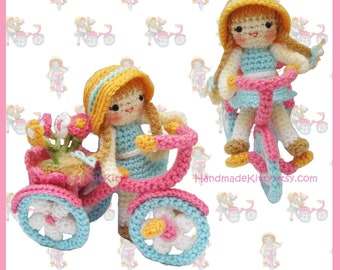 Flower Girl riding a tricycle Amigurumi PDF Crochet Pattern by HandmadeKitty