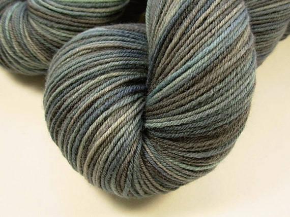 Sock Weight Superwash Merino Wool/Nylon Yarn, Hand Dyed - Storm Clouds