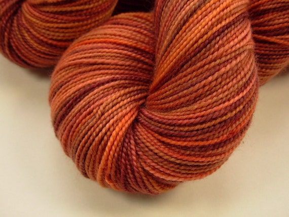 Sock Weight Superwash Merino Wool Yarn - Bricks - Hand Dyed Yarn, Knitting Supplies