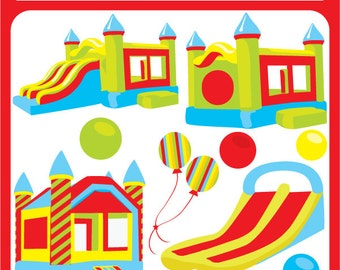 Bounce House ORIGINAL digital - bouncing castle, inflatable, inflatable bounce,  jump house - Personal and Commercial Use Clip Art