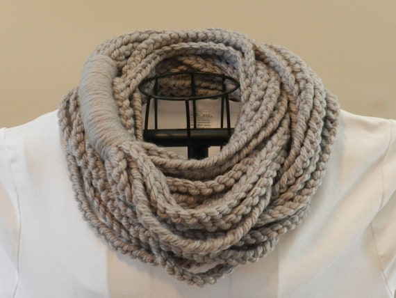 ... similar to Dallas Gray Chain Stitch Scarf/ Crochet Necklace on Etsy